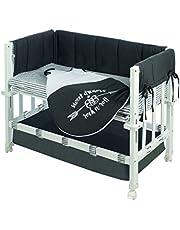 Minicuna robakids 3 en 1 'Rock Star Baby 3', cuna de colecho, minicuna y asiento para niños, madera lacada en blanco, incluye vestiduras y saco de dormir