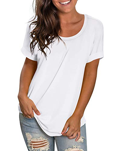 NIASHOT Women's T Shirts Short Sleeve Crewneck Basic Summer Tee Tops