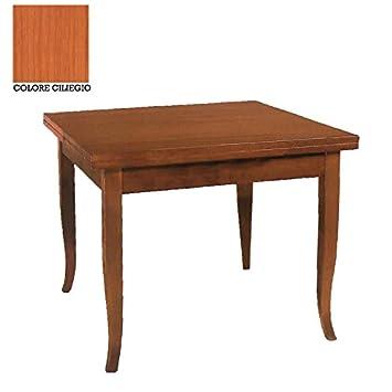 Elles Italie Table En Bois Massif Carré Extensible 90x90180cm Rouge