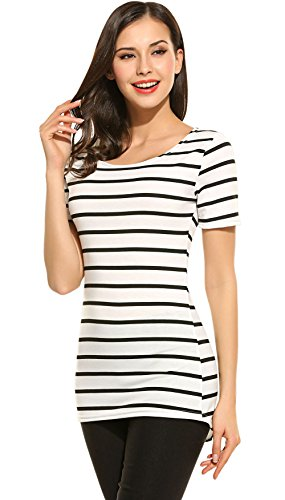 Women's Summer Short Sleeve Striped Tee Shirt Black and White Stripes - Striped T-shirt Tee