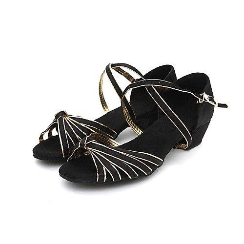 Black T T Shoes Women's Heel Black Chunky Dance Satin Kids' Ballroom Q rvrx4CqwS