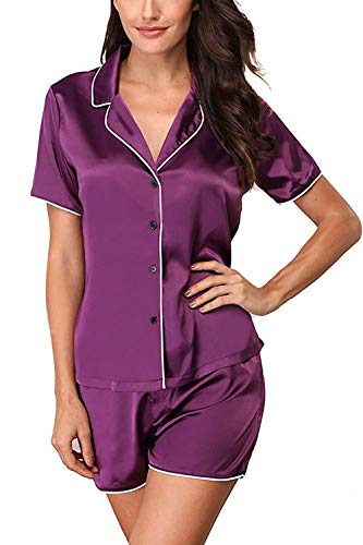 Lightweight Satin Short Sleeve and Shorts Pajama Pj Set Purple L ()