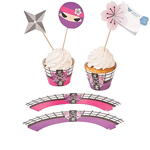 Bargain World Paper Pink Ninja Cupcake Wrappers with Picks (With Sticky Notes)