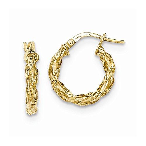 14k Gold Rope Hoop Earrings - 14K Yellow Gold Twisted Rope Hollow Hoop Earrings Length 16mm
