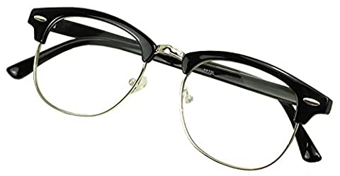 Sunglass Stop - Retro Round Horned Rim Round Clubmaster RX Optical Magnification Readers Eyewear Glasses Reading Strength +1.00 +1.5 +1.75 +2.0 +2.5 +3.0 (Black | Silver, 1.75 - 2.0 Rx Eyewear