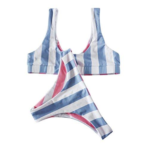 DEELIN Traje De BañO CláSico del Sujetador del Bikiní Rayado Azul De Las Mujeres Que BañA El Beachwear: Amazon.es: Ropa y accesorios