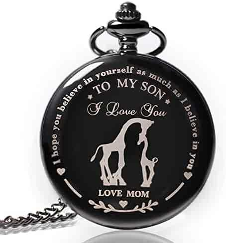 to My Son Pocket Watch,Engraved Pocket Watch for Son from Mom Christmas, Valentines Day, Birthday Gift