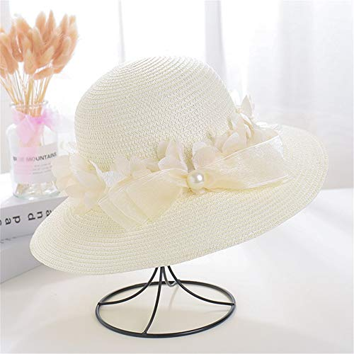 Jeterndy Straw hat Women's Summer Sun Hat Beach Sunhat Foldable Pearl Garland Hats (Color : Milk White, Size : 56-58cm)