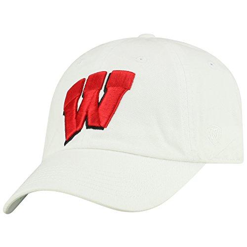 Top of the World NCAA Mens College Town Crew Adjustable Cotton Crew Hat Cap (Wisconsin Badgers-White, Adjustable)