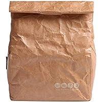 SANNE Lunch Bag Box Cooler Bag Insulated Retro Style Reusble Paper Leakproof Environmental Tyvek Handle Bag Work Picnic Shool (Brown)