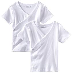 Spasilk Kid\'s Side Snap Tee 2-Pack, White, 9 Months