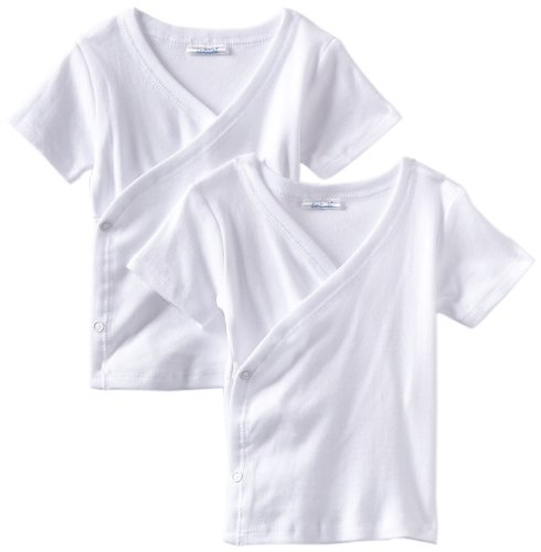 Spasilk Kid's Side Snap Tee 2-Pack, White, 9 Months