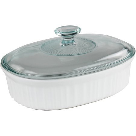 (Corningware French White 1.5-Quart Oval Baking Dish with Glass Lid)