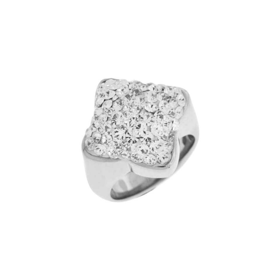 Womens Stainless Steel Ring with Clear CZs In a Pave Setting   Size 8