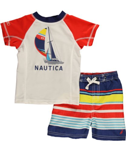 Nautica Baby-Boys Infant Rashguard Swim 2 piece Set, Bright Orange, 18 Months