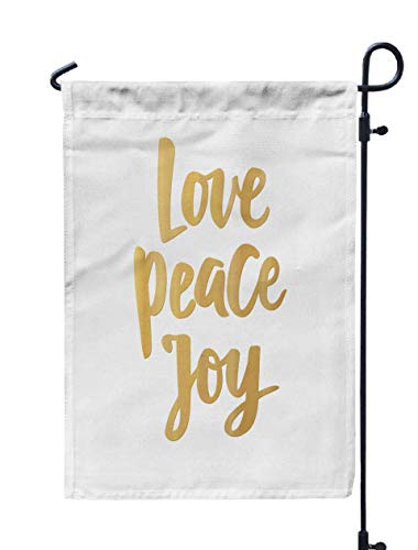 Bisead Garden Flag,Double Sided 12×18 Inch Spring Summer Outdoor Yard Decoration Love Peace Joy Card Golden Greeting Quote White Background Christmas New Year Banners Posters Gift,Gold Green