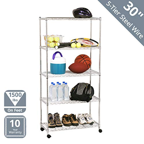 "Seville Classics 5-Tier Steel Wire Shelving with Wheels, 30"" W x 14"" D x 60"" H, Chrome"