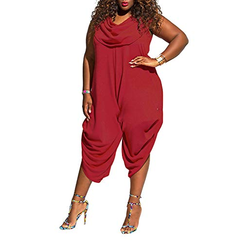 Fine Women's Jumpsuit Solid Color Bib Solid Color Plus Size Sleeveless Stretch Premium Romper (1X-3X) Red (Jersey Sleeveless Bib)
