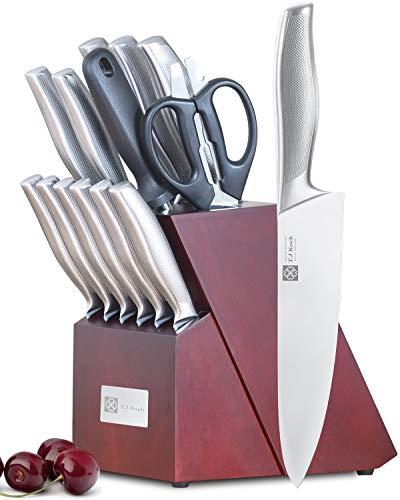 Knife Set Stainless Steel Knives Premium Non-slip Single Piece with Dark Cherry Wooden Block Kitchen Scissors Sharpener Rod 14-piece
