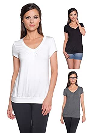 Free to Live Women's 3 Pack: Short Sleeve Shirring V-neck Tops (Black, Charcoal, Ivory),Small