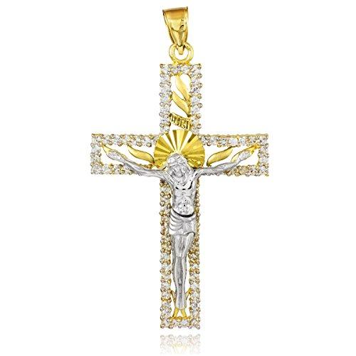 Petits Merveilles D'amour - 14 ct 585 / 1000Deux tons oxydes Or de zirconium Pendentif Crucifix