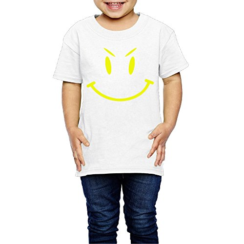 SSEE Kids Boy's & Girl's Cute Evil Smiley Face Funny T-srhits Size 5-6 Toddler White