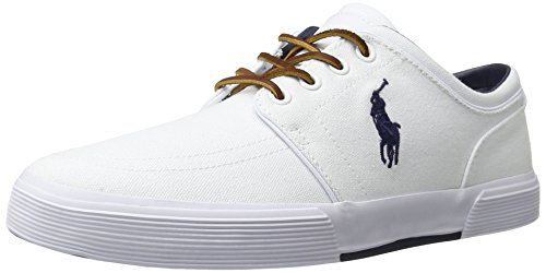 (Polo Ralph Lauren Men's Faxon SK VLC Sneaker, Pure White, 11 D US)