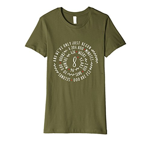 Womens 8 Year Anniversary Gift Tee for Her or Him Small Olive