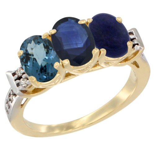 14K Yellow Gold Natural London Blue Topaz, Blue Sapphire & Lapis Ring 3-Stone 7x5 mm Oval Diamond Accent, size 8.5 Blue Sapphire Lapis Ring