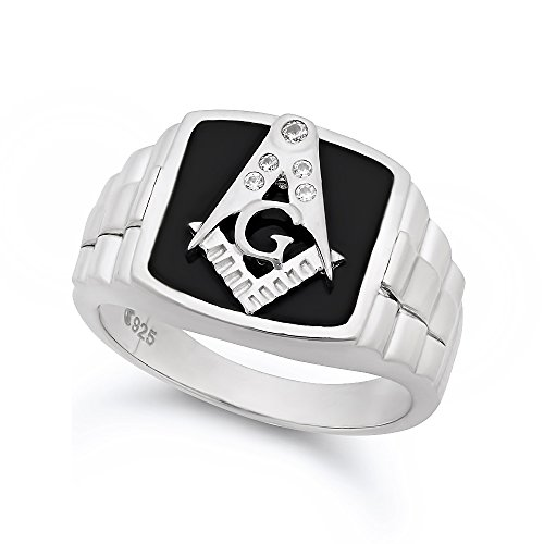 Ring Italian Tone Two - Large 22mm Two-Tone Sterling Silver Italian Crafted & Black Freemason Logo CZ Ring, Size 13
