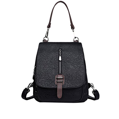 Stone Handbag Bag Bag Chilie Vertical Decor Closure Tote Black Shoulder Casual Backpack Grain Zipper Rucksack Magnetic Women PU Girl TqBxfaqEwF