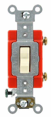 Leviton 1221-LHI 20-Amp, 120 Volt, Toggle Lighted Handle, Illuminated Off Single-Pole AC Quiet Switch, Extra Heavy Duty Grade, Self Grounding, Ivory