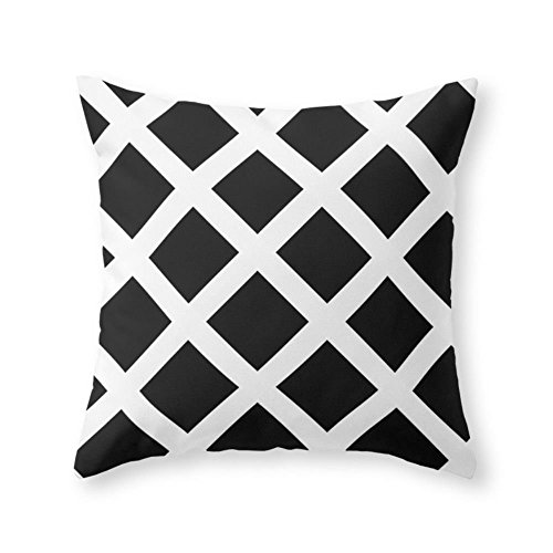 Society6 Rhombus Black & White Throw Pillow Indoor Cover (20