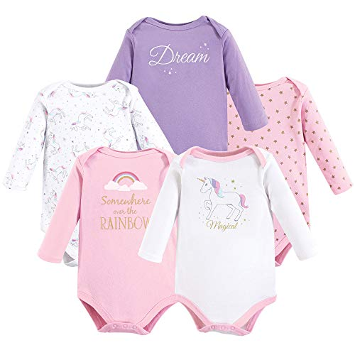 Hudson Baby Long Sleeve Bodysuit, 5 Pack, Magical Unicorn, 12-18 Months (Cotton Body Warmer)