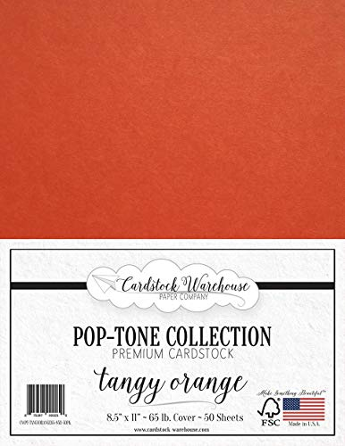 Tangy Orange Cardstock Paper - 8.5 x 11 inch 65 lb. Cover -50 Sheets from Cardstock -