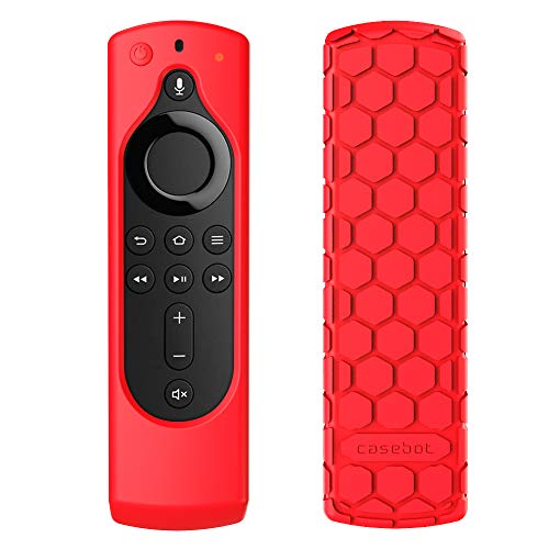 CaseBot Remote Case for Fire TV Stick 4K / Fire TV Cube/Fire TV (3rd Gen) Compatible with All-New 2nd Gen Alexa Voice Remote Control - Honey Comb Series [Anti Slip] Shockproof Silicone Cover, Red
