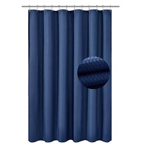 Embossed Blue Dots - Barossa Design Soft Microfiber Fabric Shower Liner or Curtain with Embossed Dots, Hotel Quality, Machine Washable, Water Repellent, Navy Blue, 70 x 72 inches