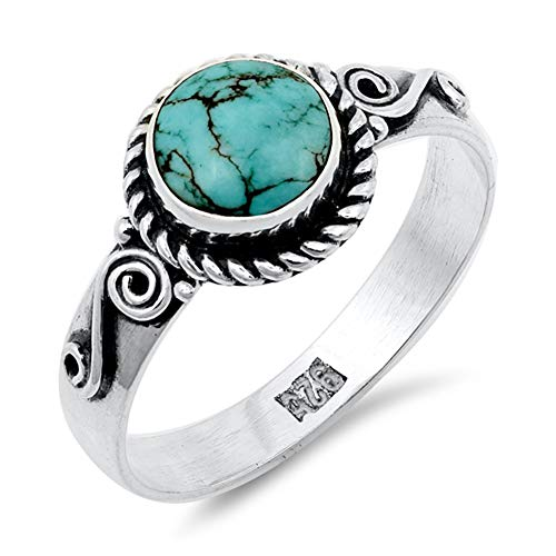 Simulated Turquoise Bezel Oxidized Round Rope Halo Ring Sterling Silver Band Size 9