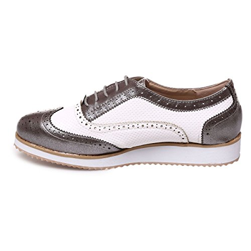 Mujer Para Gris Cordones Zapatos Modeuse La De qxnpACR