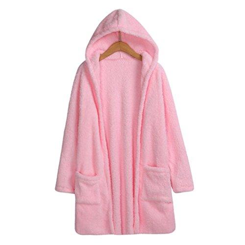 suéteres Mujeres Bolsillo Lana Manga con de SHOBDW con Abrigo Chaqueta Tejer Larga Sudadera Rosado de Capucha dYAHnwq6x