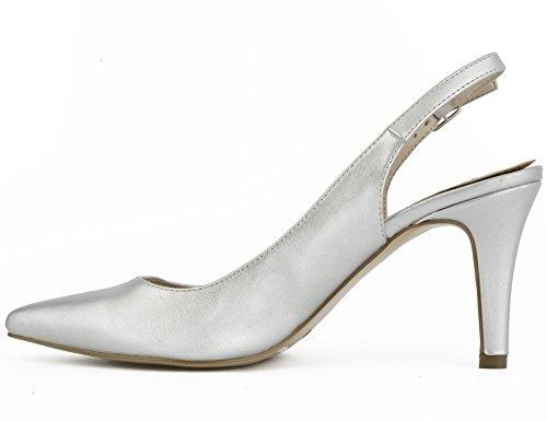 MaxMuxun Women Shoes Point Toe Kitten Heels Slingback Dress Pumps Silver yJNWyHT