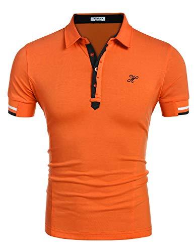 Hotouch Men Short Sleeve Polo Shirt Saffron Yellow XL