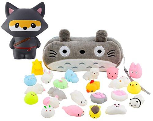 Mochi Squishy Toys 10-Pcs + FREE Kawaii Cat Bag + Jumbo Fox Ninja Squishy| Random Package of Mini Variety Animals Squishies Case| Cute Box of Animal Toy Set| Fun Birthday -