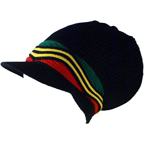 SSK Rasta Knit Tam Hat Dreadlock Cap (Med Length Red/YEL/Grn Waves w/Brim)
