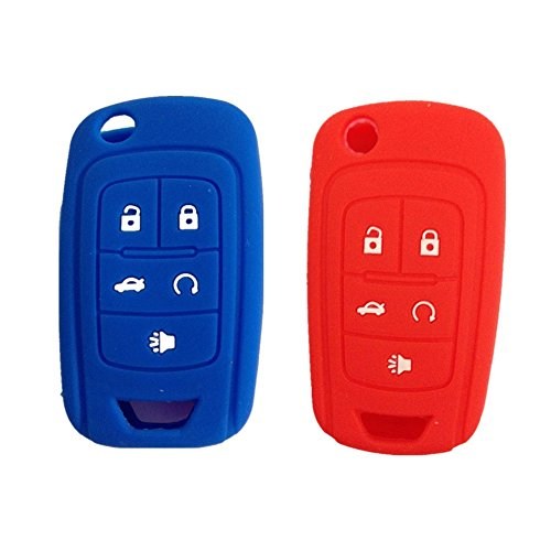 New Red and Blue 5 Buttons Silicone Cover Holder Key Jacket for Chevrolet Camaro Cruze Volt Equinox Spark Malibu Sonic Flip Remote Key Case Shell Cover-Black - Flip Red Cover