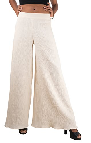 Dress Pants Cream (Tropic Bliss Women's Organic Cotton Crinkled Bohemian Palazzo Pants,Ivory,XX-Large)