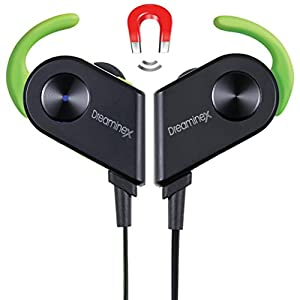 Dreaminex Bluetooth Earphones-Premium Noise Cancelling Wireless Headphones- Great Sound Quality & Built In Microphone-Secure Fit In-Ear Earbuds With Magnetic Technology Ideal For Sports (Black- Green)