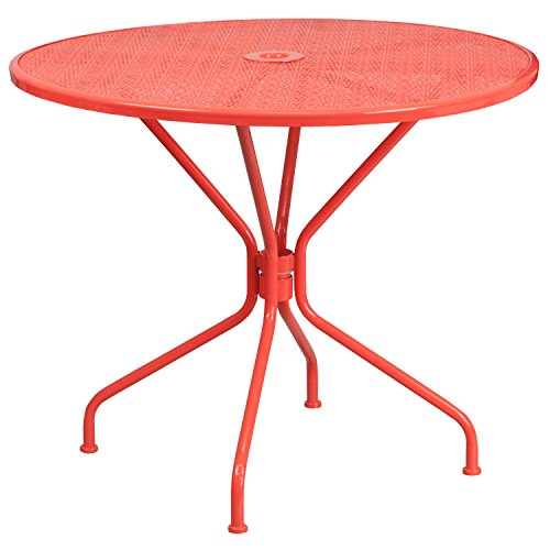 Flash Furniture 35.25'' Round Coral Indoor-Outdoor Steel Patio Table (Table Coral Cafe)
