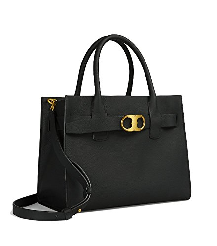 Tory Burch Gemini Link Leather Small Tote (Black) by Tory Burch