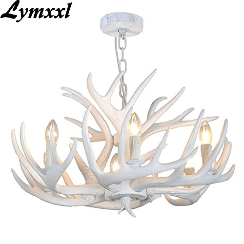 Antlers Resin Chandelier Lamp Modern LED Antler Chandelier Lustre Chandeliers E14 Vintage Lights Novelty Lighting (6+3heads, White Color)